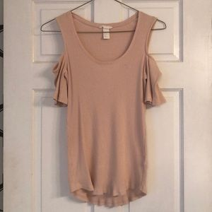 pink h&m cold shoulder short sleeve large top